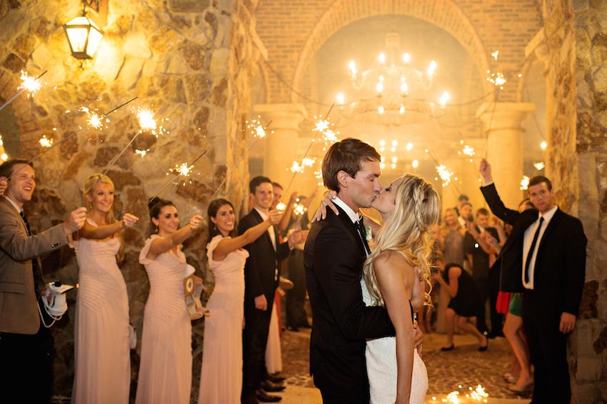 sparkler exit wedding kiss