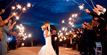 Wedding sparklers send off