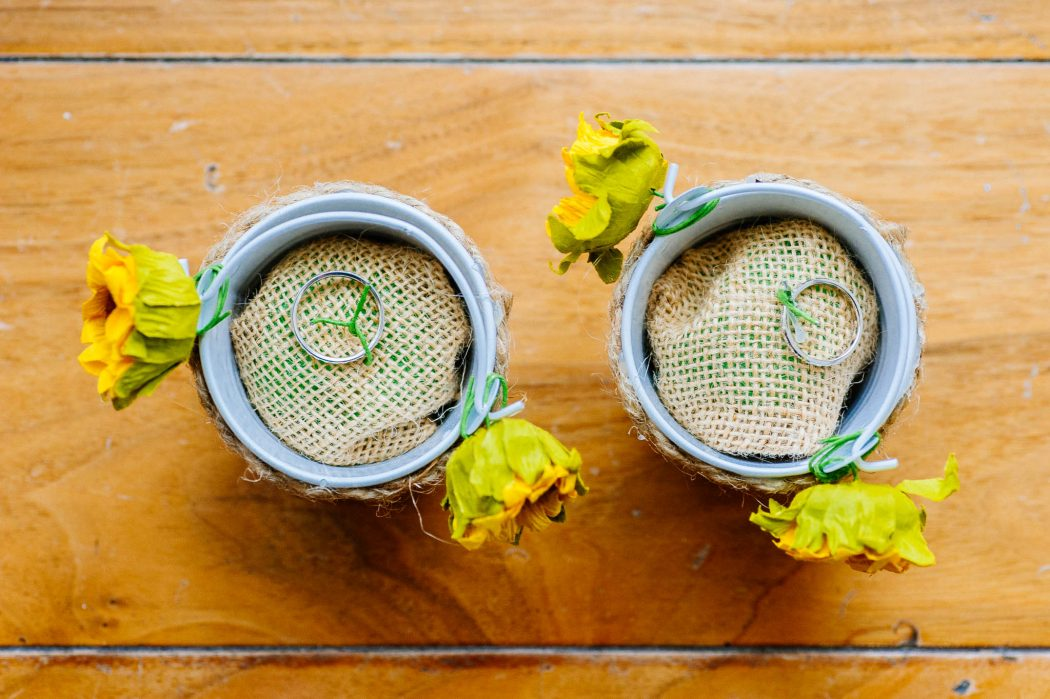 Rustic wedding ring bucket