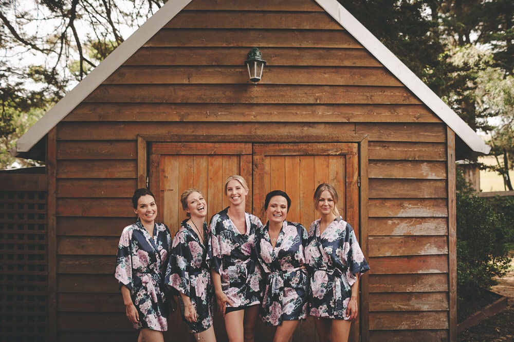 Bride with bridesmaids before the wedding