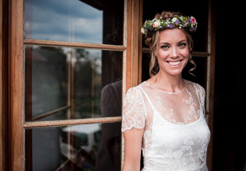Bride wearing flower headpiece