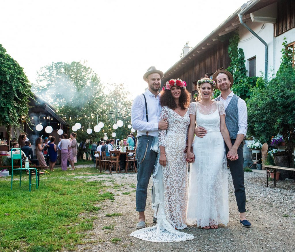 Bavarian countryside double wedding