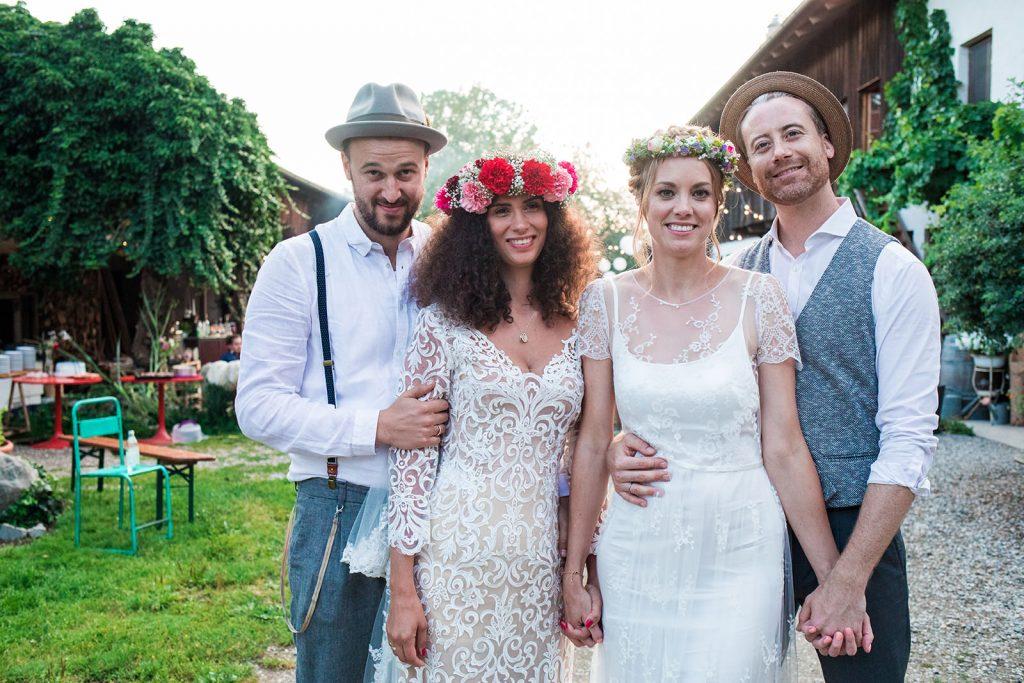German countryside double wedding
