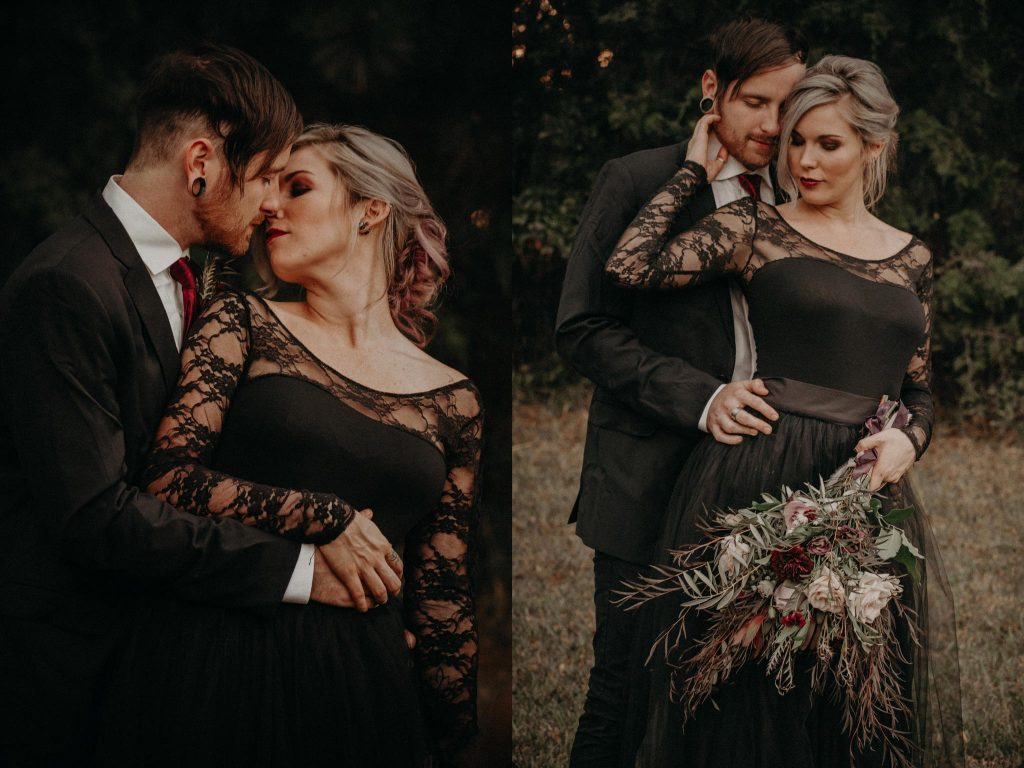 Bride and groom in a Halloween themed wedding shoot