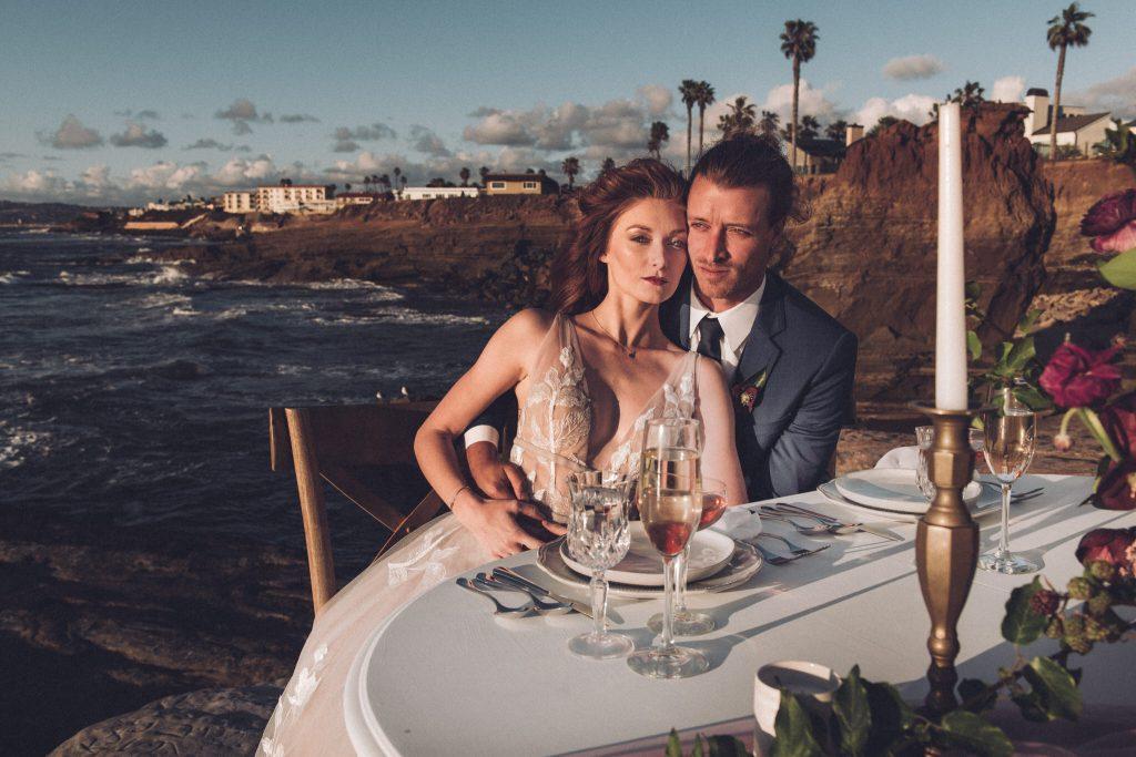 Sunset cliffs elopement bride and groom