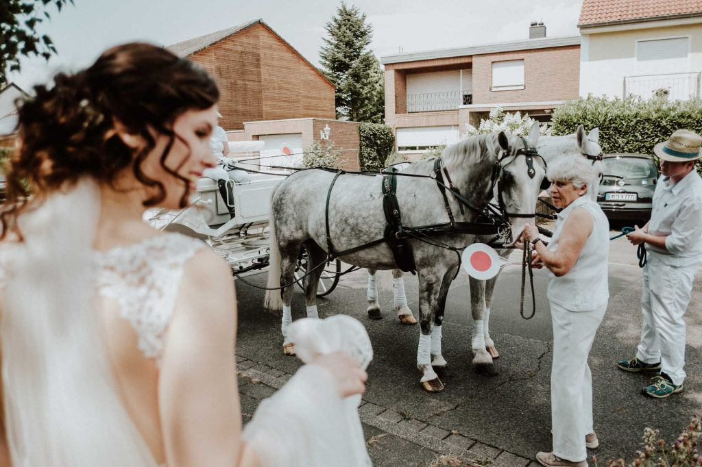 Wedding hors drawn carriage