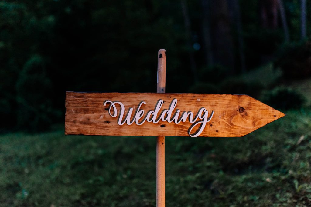 A personal wedding ceremony sign
